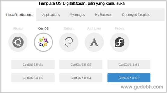 Memilih template OS Server Digitalocean